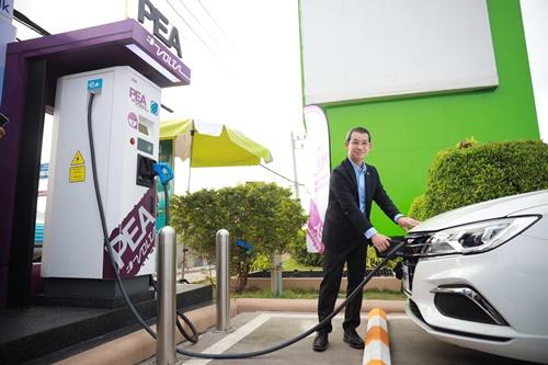 เอ็มจี หนุน PEA และบางจาก เปิดสถานีชาร์จรถยนต์พลังงานไฟฟ้า